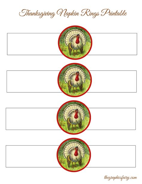 printable christmas napkin rings thanksgiving turkey napkin rings template the graphics fairy