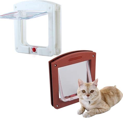 flap in glass door white frame 4 way locking lockable magnetic pet cat small