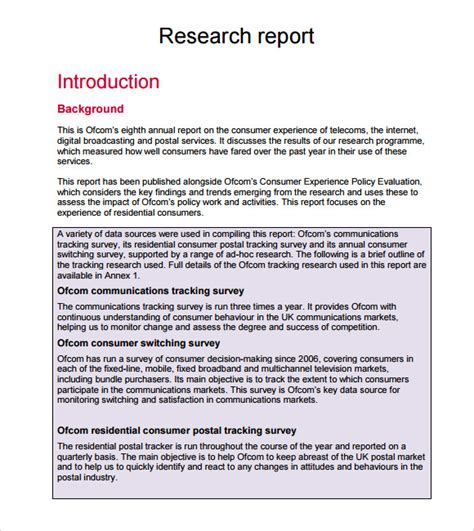highlight the layout of a research report sle research report 6 documents in pdf
