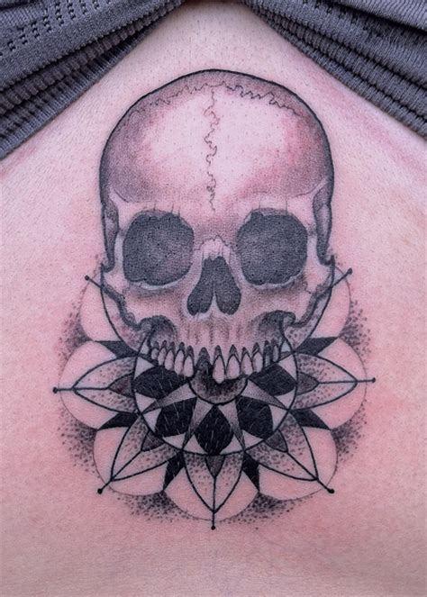 skull mandala 187 black amp blue tattoo