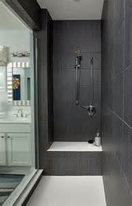 Dark gray large shower tiles walk in shower ideas contemporary