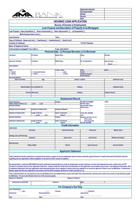 Loan Application Letter For House Renovation From Company loan application template free printable documents