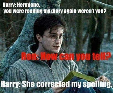 Harry Meme - harry potter memes hermione reading his diary ron