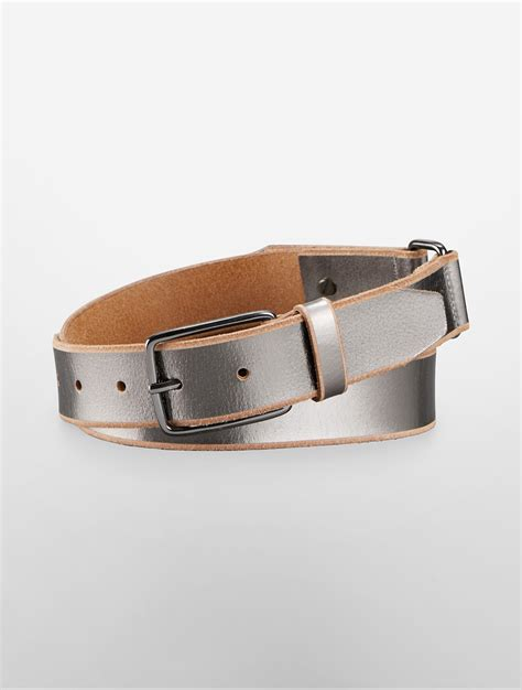 calvin klein edge metallic leather belt in silver