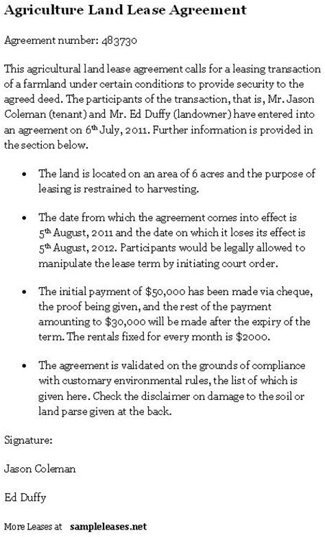 farm lease agreement template best photos of agricultural land lease agreement farm