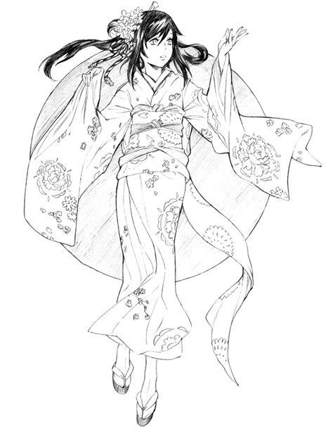 japanese girl kimono coloring page japon kimono coloriage divers diverse colouring