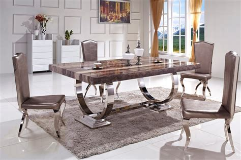 china sale stable metal legs marble top dining table