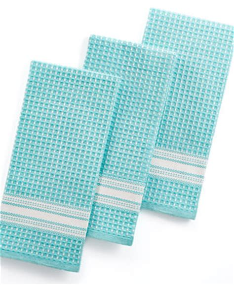 martha stewart collection waffle weave set of 3 aqua