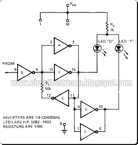 probe circuit diagram cmos universal logic probe circuit diagram
