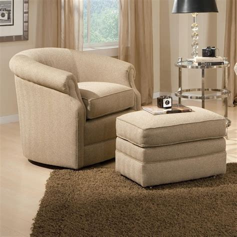 swivel accent chair with ottoman smith brothers accent chairs and ottomans sb barrel swivel