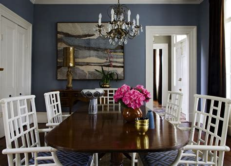 stunning blue dining room with blue walls paint color chippendale dining table white lattice
