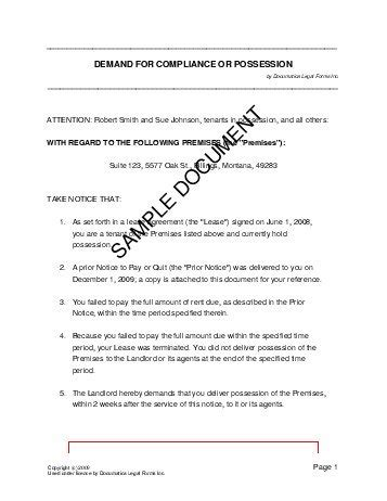 Possession Letter Format For Lease Demand For Compliance Or Possession India