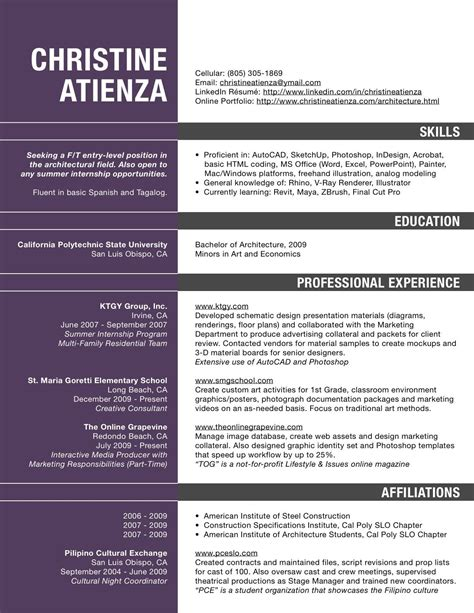 Mba Internship Taxes by Architecture Resume Pdf Resume For Architects