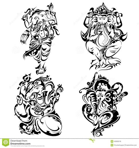 tattoo style lord ganesha stock vector image 43932578