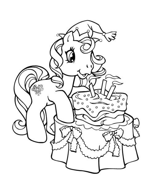 Coloriage a imprimer petit poney souffle ses bougies