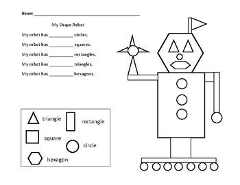 items similar to robot color worksheet printable on etsy my shape robot math worksheet by working wonders tpt