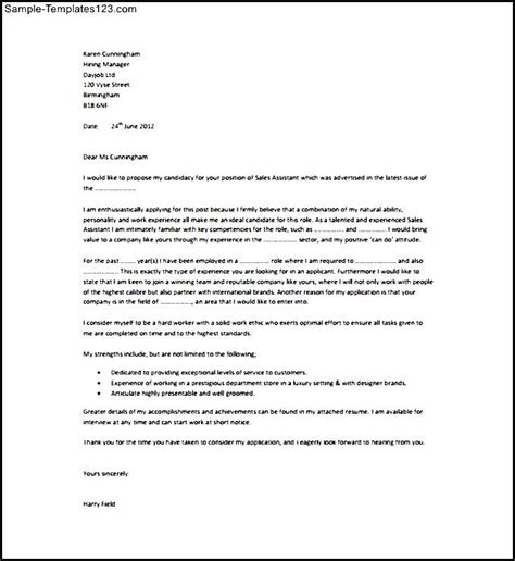 sales assistant cover letter pdf template free sle templates