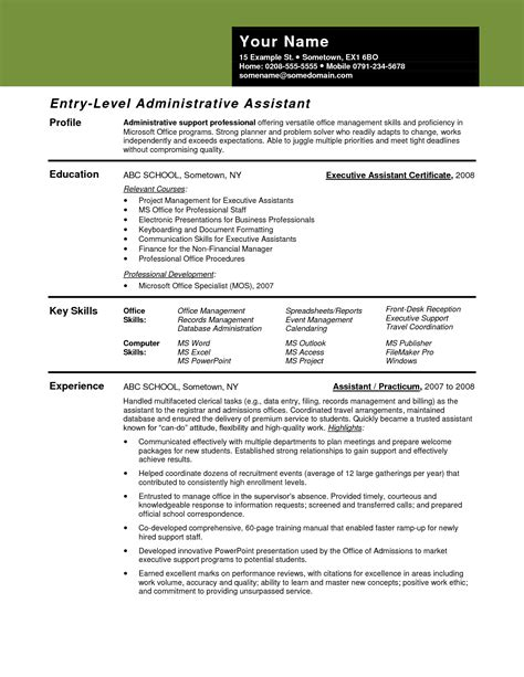 entry level office assistant resume inroads resume template clerical
