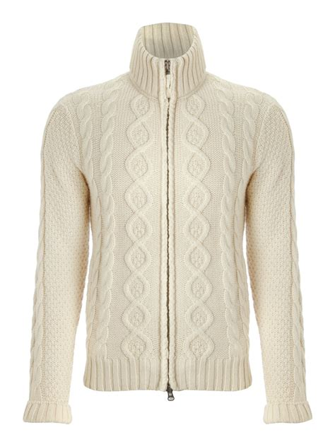 knit beige cardigan gant funnel neck cable knit cardigan in beige for