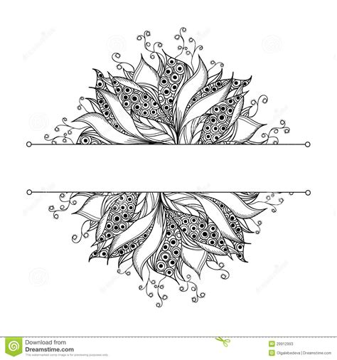 Card Template With Fantasy Black And White Flower Stock Vector Illustration Of Graphic Doodle Black And White Card Templates