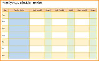 Study Template by Study Schedule Template Pictures To Pin On