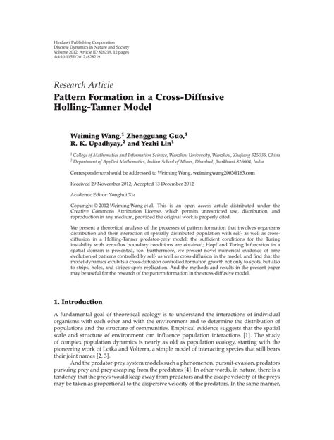 pattern formation research pattern formation in a cross diffusive pdf download