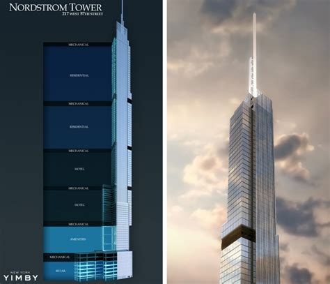 100 floors level 57 tower revealed new renderings for nordstrom tower at 217 west