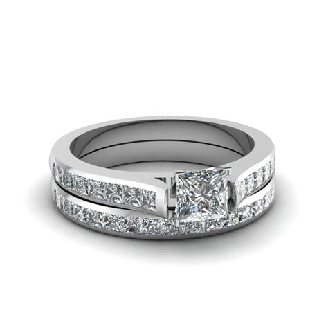 princess cut wedding ring sets with white