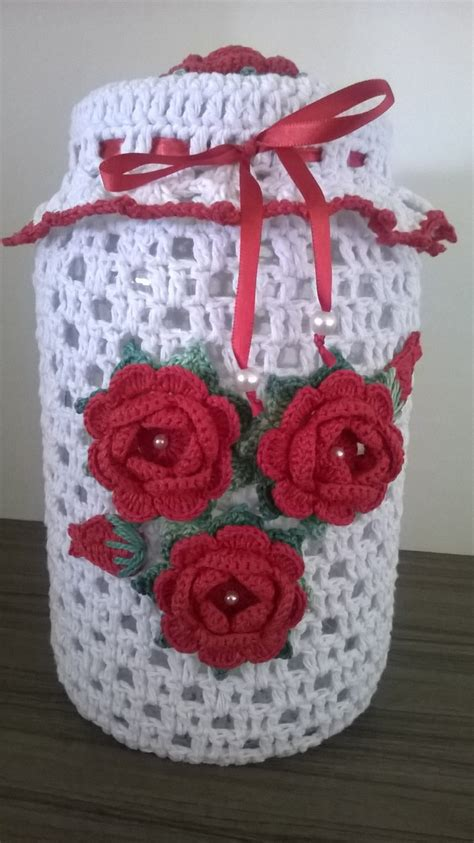 vidros decorados em croche graficos vidro decorado em croche cetim vermelho croche barbante
