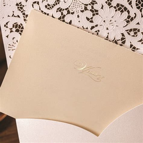 ivory wedding invitation paper ivory cheap laser cut pocket wedding invitation wlc016