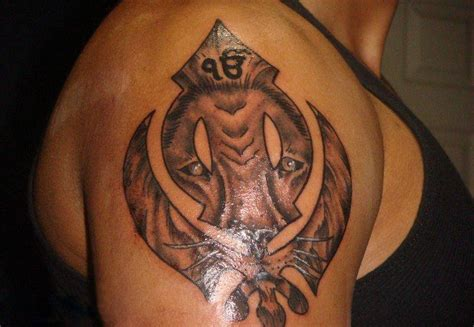 khanda lion tattoo designs tiger khanda on shoulder