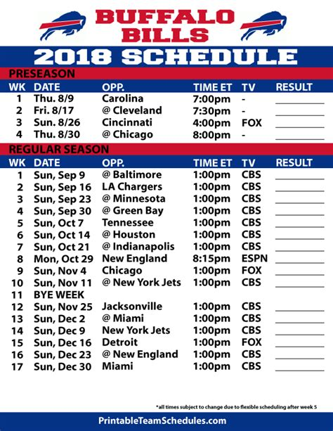 printable nfl tv schedule 2015 printable buffalo bills schedule 2015 16