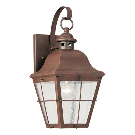 Copper Outdoor Lights Shop Sea Gull Lighting Chatham 14 5 In H Weathered Copper Outdoor Wall Light At Lowes