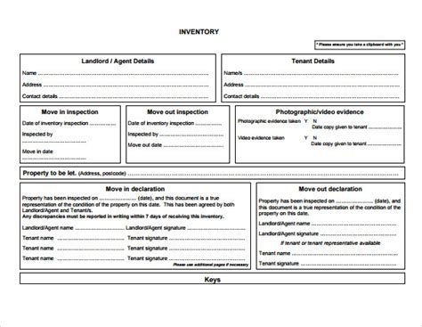 landlord inventory template free doc 580450 landlord inventory form template bizdoska