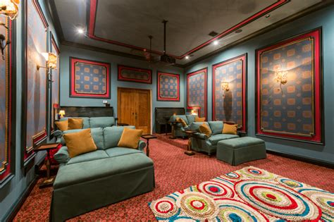 stadium seating living room blue media room with stadium seating mediterranean home theater houston by