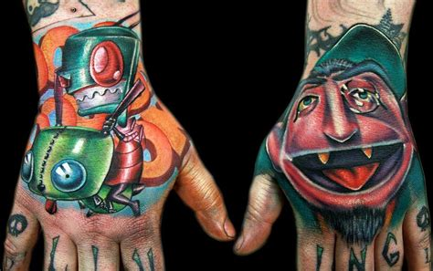 tattoo new school hand zim and count hands by cecil porter tattoos