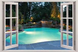 Window Wall Sticker Swimming Pool 3d Window View Decal Wall Sticker Home Decor