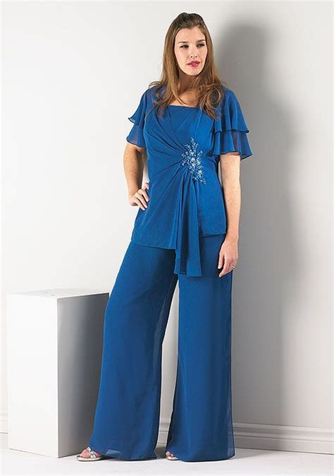 Flowy Suit 178d flowy chiffon pant suit with flutter sleeve