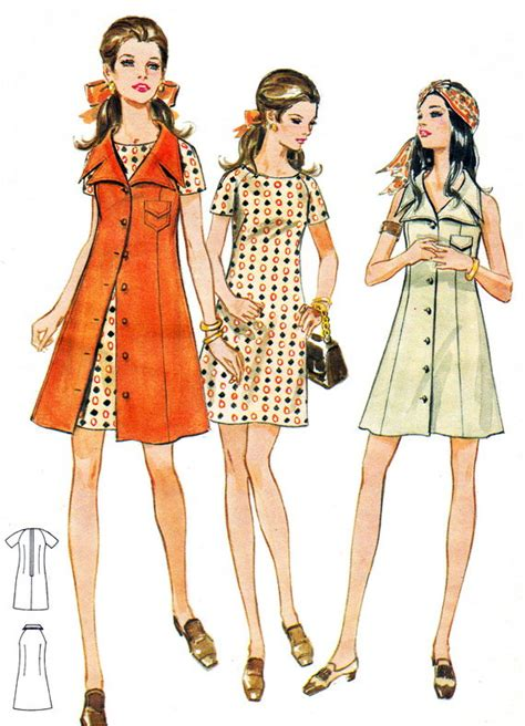pattern shift dress vogue 1960s dress pattern butterick 5686 mod front button collared