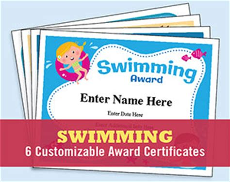 swimming award certificate template swim certificates swimming award templates swim coach