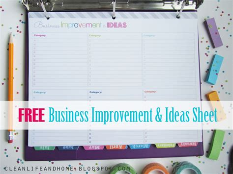 home improvement planner printable clean life and home freebie business improvement and