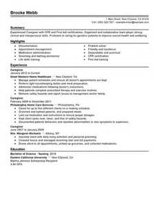 Caregiver Resume Sle by Live In Caregiver Resume Canada Sales Caregiver Lewesmr