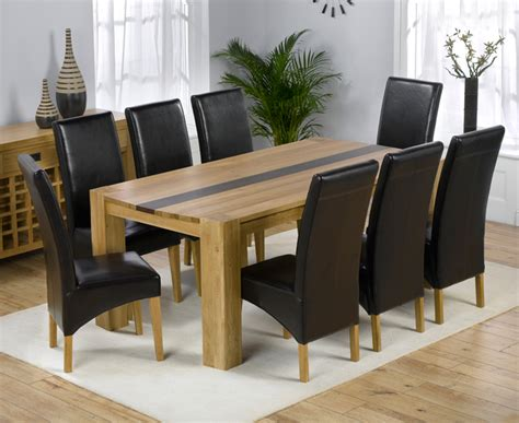 beatrice oak dining table with walnut and 8 leather