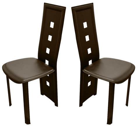 Attrayant Chaise Haut Dossier Salle A Manger #6: chaises-design-calzone-pvc-haute-qualite-marron-1.jpg