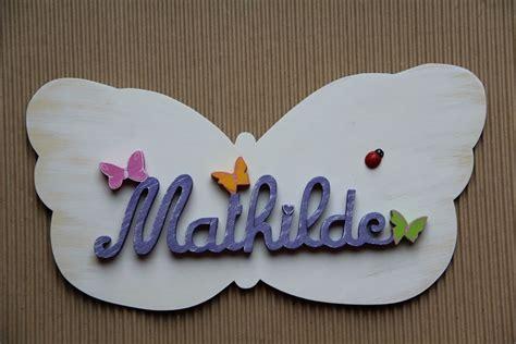 prenom sur porte chambre plaque de porte pr 233 nom en bois papillon
