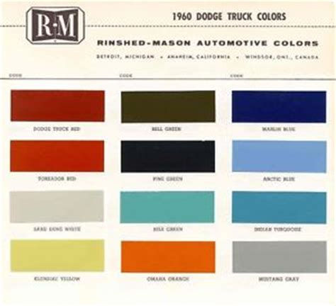 1960 dodge truck paint color sle chips card ebay