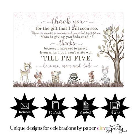 woodland friends baby shower   cards  pack