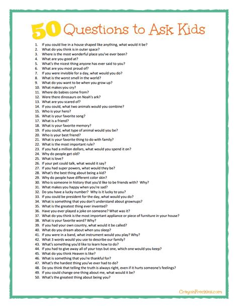 Or Question To Ask A Crayon Freckles 50 Questions To Ask Plus Free Printable