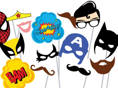 printable photo booth props superhero super hero picture props printable free clipart best