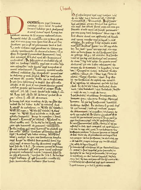 book pages original folio of kent page 1 in domesday book domesday